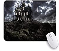 Mabby マウスマット ゲーミング オフィス マウス パッド,Haunted ghostly mansion on top of the hill on a full moon night with low clouds,Non-Slip Rubber Base Mousepad for Laptop Computer PC Office
