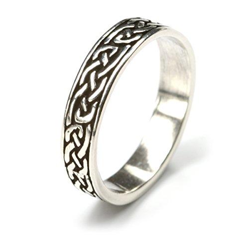 Drachensilber Herren-Ring keltisch 925 Silber Bandring Herrenring Damenring Silberring Ringschiene 5mm Gr 62