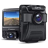 Dual Dash Cam GPS with IR Night Vision, Crosstour 1080P Front and 720P Inside Cabin Car Dash Camera 2.4 inch LCD Screen...