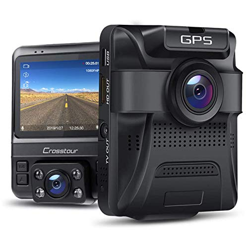 Dual Dash Cam GPS with IR Night Vision, Crosstour 1080P Front and 720P Inside Cabin Car Dash Camera 2.4 inch LCD Screen 310°Wide Angle Dual Lens Car Driving Recorder for Cars Truck Taxi