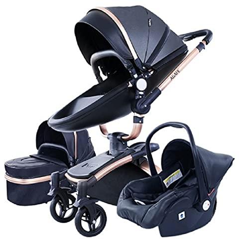 3 in 1 Kombikinderwagen Kinderwagen 3-in-1 Dreirad Lauflernhilfe Hochlandschaft Kinderwagen Faltbarer Kinderwagen Babywagen Babywagen für Baby 0-36 Monate (Schwarz)