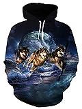 Goodstoworld 3D Wolf Pullover Kapuzenpullover Mädchen Herren Hoodie Sweatshirt Bunt Grafik Print Langarm Kapuze Kapuzenpulli