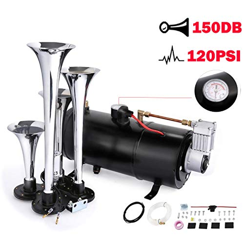 4 Trumpet Train Air Horn with 12 Volt Compressor and Kit Set for Vehicle Trucks Car SUV (Black)