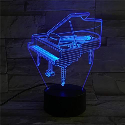 HGFHGD Música Piano Shap Luz de Noche 3D Lámpara de ilusión 3D...