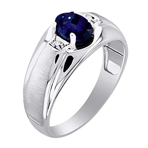 Para hombre Sapphire & Diamond Anillo Banda Oro Blanco De 14K