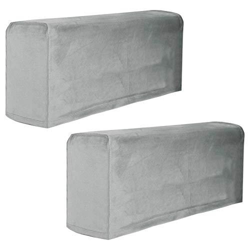 Fundas para reposabrazos elásticas, de terciopelo grueso para sillas y sofás Fundas de sillón para brazos Fundas de brazo de sofá Fundas de reposabrazos para sofá antideslizantes-Gris claro-2-pcs