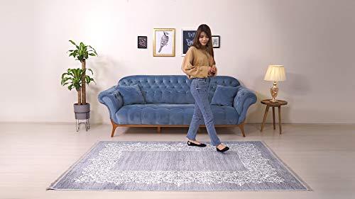 BESYILDIZ KALiTE HALI Designer Teppich Modern Wohnzimmer Esszimmer Schlafzimmer Bordüre Hochwertig Meliert Kurzflor bedruckter Retro Grau-Weiß