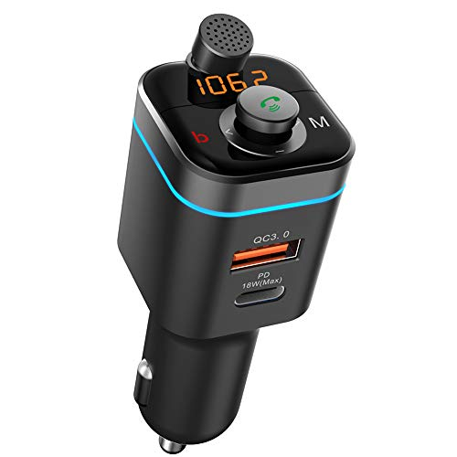 Transmisor FM Bluetooth 5.0 para automóvil,18W PD USB-C+QC3.0 Cargador rápido Adaptador de Radio inalámbrico para automóvil Reproductor Compatible con Siri Google Voice Assistant Carga de automóvil