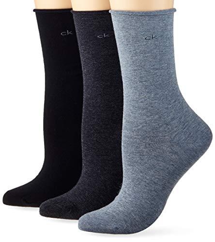 Calvin Klein Socks Womens Crew 3p roll top Emma Socks, blue combo, ONE SIZE
