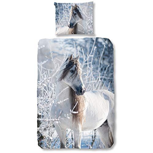 Good Morning Bettwäsche 2416 Weißes Pferd Stute Tier Flanell 135 cm x 200 cm