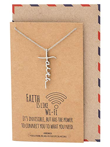 Quan Jewelry WiFi Faith Pendant Necklace, Religious Jewelry, Inspirational Jewelry with Greeting Card - Silver Tone