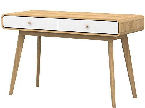 Designer Schreibtisch mit Schubladen Computertisch PC Laptop Bürotisch Konsolentisch Arbeitstisch Holzbeine Skandinavisches Design 120 x 50 x 78,5 cm (Natur/weiß)