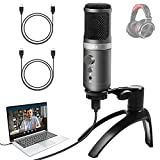 USB Podcast Microphone, PC Condenser Mic with Volume Control Monitor Headphone Jack Mute Button, Gaming Mic for Computer Mac Android Phone Windows iPhone Vocal YouTube Livestream TikTok Skype