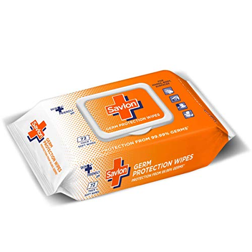 Savlon Germ Protection Multipurpose Thick & Soft Wet Wipes with Fliptop lid – 72 Wipes I Use on Hands, Body and Surfaces
