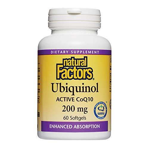 天然因素,Ubiquinol活性COQ10 200mg,辅酶Q10为能量,心脏和认知载体补充,无麸质,60粒软胶囊(60份)
