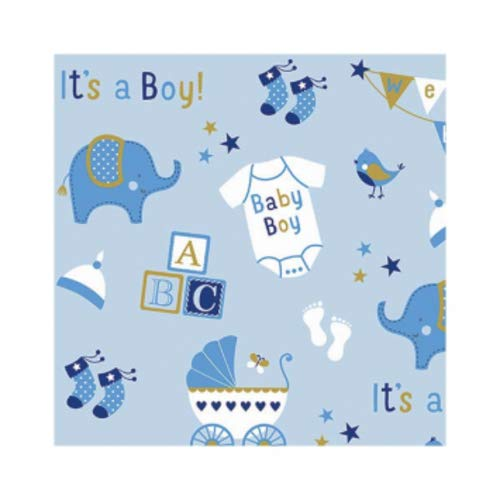 Amscan Party Supplies Printed Jumbo Baby Boy Elephant Gift Wrap, 16' x 30', Multi