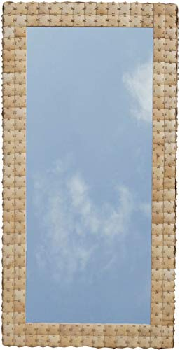 Guru-Shop Patchwork Spiegel met Kokosnootlijst - Model 3 Naturel, Crèmewit, Klootzak, 120x60x5 cm, Spiegels