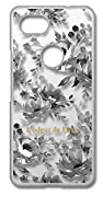 sslink Google Pixel 3a グーグル ピクセル3a クリア ハードケース ピオニー (ブラック) 花柄 フラワー ボタニカル ハワイアン アロハ おしゃれ かわいい 柄 カバー ジャケット スマートフォン スマホケース