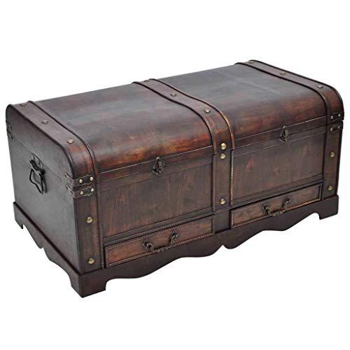 SCJ Cofre del Tesoro de Madera Grande Vintage Baúl de Almacenamiento Colonial...