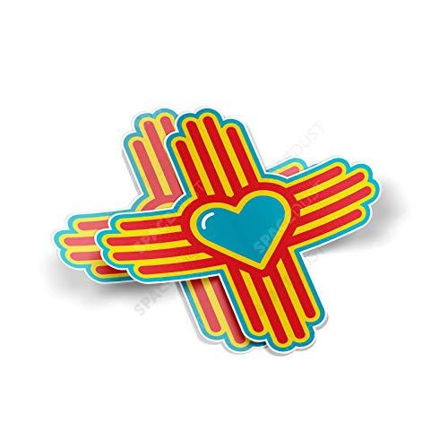 "Zia Symbol Window 2 Sticker Set: 4"" Turquoise Blue Weatherproof New Mexico Vinyl Decal"