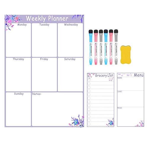 Calendario magnético para nevera Magnetic Blanco Planificador Magnético Planificador Tablero Lista de comestibles Tablero Blanco Blanco Marcador Conjunto-Estilo 3