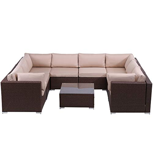 SUNVIVI OUTDOOR Patio Furniture Sets 9 Piece Outdoor Conversation Set, All Weather Brown PE Wicker Furniture Set with Glass Table, Removable Beige Cushions
