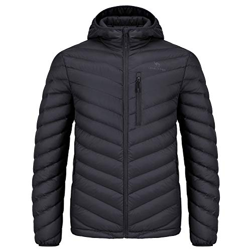 CAMEL CROWN Men/Women Hooded Down Jacket Packable Puffer Coat Lightweight Water-Resistant Outwear for Unisex Black M