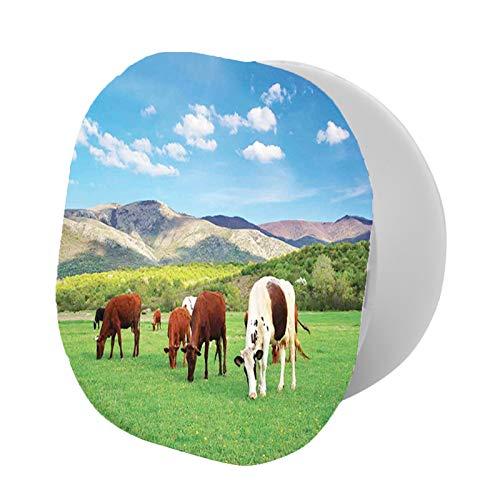 Soporte plegable para teléfono celular, colorido manada de vacas en prado verde rodeado de montañas, composición natural, soporte ajustable para teléfono móvil