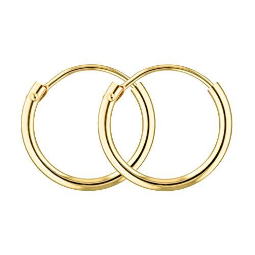 EDELWEISS Pendientes de Aro Para Mujer Oro amarillo 375 — Aros Pendientes Oro 9K, diámetro 13 mm, ancho 1.3 mm