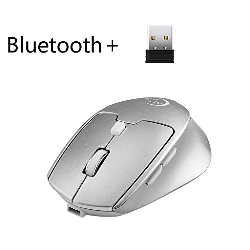 Yowablo Maus, Maus Bluetooth USB 2.4G für Notebook,Computer,Laptop,Mac und Windows98/me/2000/xp/vista/Win 7/win8/10/vista mac Betriebssystem (Silber)