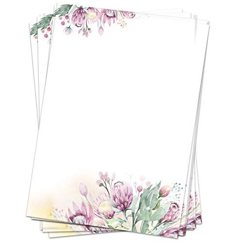 50 Blatt Briefpapier (A4)   Blumen Sommer rosa   Motivpapier   edles Design Papier   beidseitig bedruckt   Bastelpapier   90 g/m²