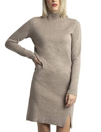 APART wärmendes Damen Kleid, Strickkleid, Kaschmir-Anteil, Zopfmuster-Längsstreifen, überschnittene Ärmel, Kleiner Gehschlitz, schönes...
