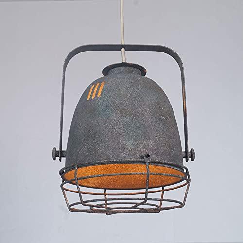 NAMFHZW Lámpara colgante de techo envejecida retro Acabado en metal gris Lámpara colgante con pantalla E27 1 luz Lámpara colgante semi empotrada Luminaria ajustable en altura Sala de estar Mesa de com