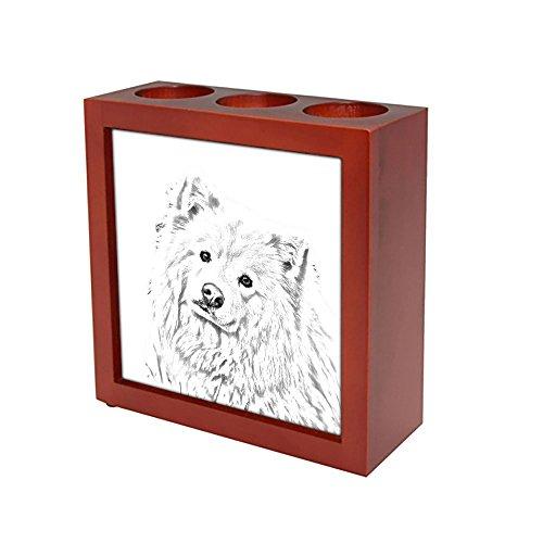 ArtDog Ltd. Finnische Lapphund, Holzständer für Kerzen/Stifte mit dem Bild eines Hundes