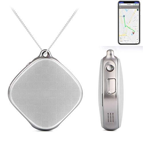 AYBB Smart Positioning Anhänger Halskette, GPS-Tracker SOS-Taste Notruf Sprachüberwachung, Anti-Lost-Tracker für Kinder Eltern Haustiere,White