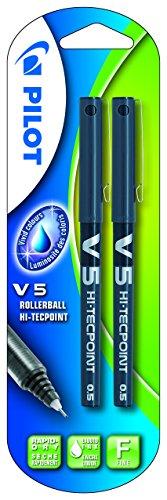 Pilot V5de tinta (tinta líquida, 0,5mm punta de lápiz (Individual)–Negro, color Negro 2er-Packung