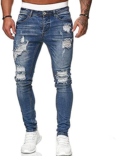 Koodred Men's Ripped Distressed Destroyed Skinny Slim Fit Tapered Leg Stretch Denim Pants Jeans Blue