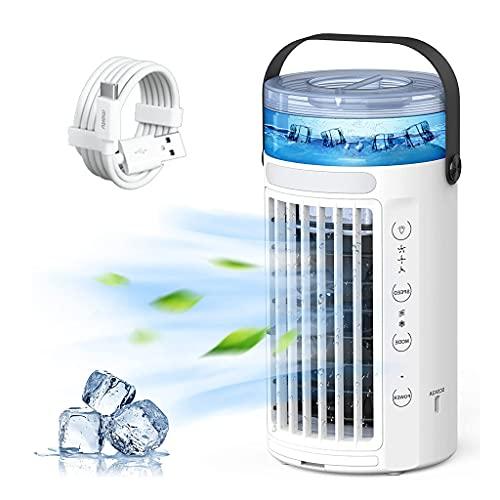 BLUEXIAO Ventilador de ar condicionado portátil, refrigerador de ar 3 em 1, 3 modos, tanque de água de 480 ml, ventilador pessoal de névoa com 7 cores de luzes, ventilador de ar condicionado portátil CA