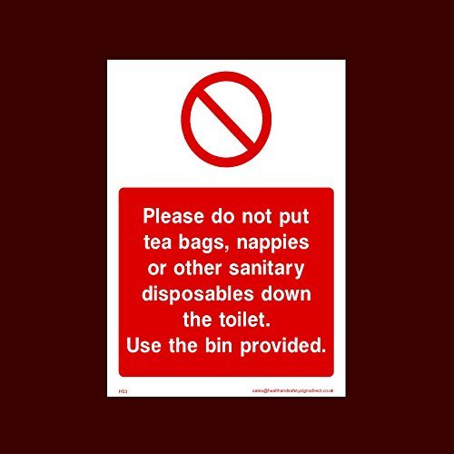 Niet weggooien van theezakjes, luiers of andere sanitaire wegwerpsticker teken (Hs3) - Toilet, Water, Receptie, Parkeerplaats, Slippery Vloer