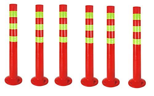 6 x Sperrpfosten flexibel | 72,5cm Absperrpfosten reflektierend | Absperrung mit Standfuß [Befestigung mit Schrauben] | Absperrständer selbstaufrichtend | Park Pfosten Farbe Rot | Leitpfosten | Poller