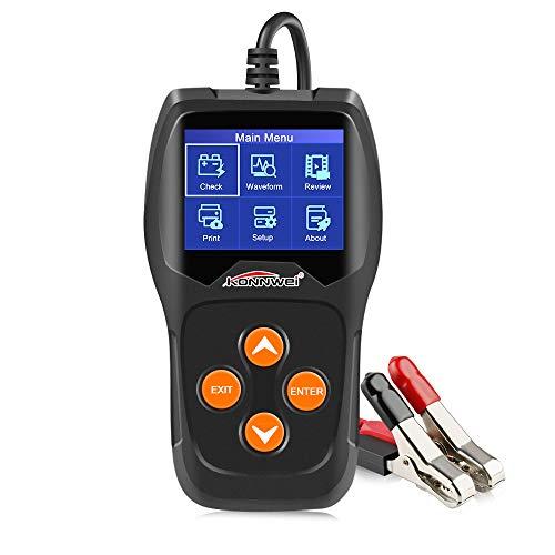 KONNWEI KW600-DE KW600 12V Professional Batterietester 100-2000 CCA 220AH Automotive Batterie Analyzer Batteriezustand Test-Tool für Auto/Boot/Motorrad und Mehr