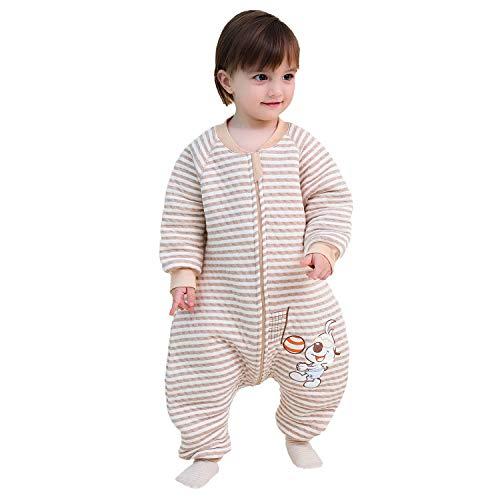 Baby Schlafsack mit Beinen Warm gefüttert Winter Langarm Winterschlafsack mit Füssen,Junge Mädchen Unisex Overall Schlafanzug(L :Körpergröße90-102cm/2-3Jahre)