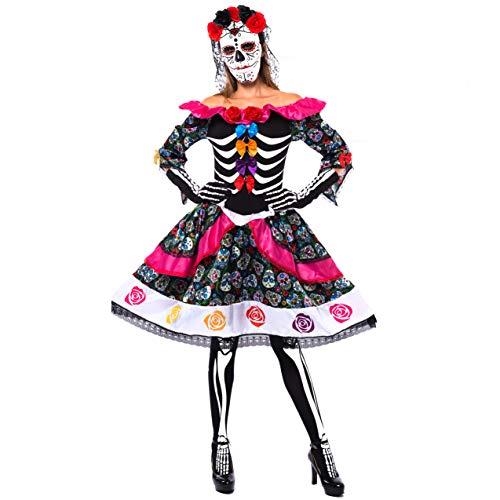 Spooktacular Creations Set de disfraz español para el Día de los Muertos para Halloween Lady Dress Up Fiesta, Dia de Los Muertos, Negro, XL