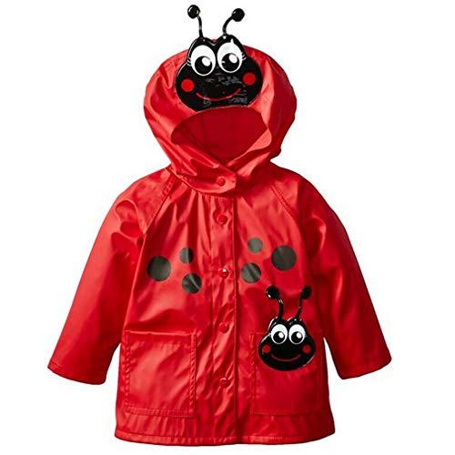 mama stadt Chubasquero Niña y Niños, Chaqueta Impermeable bebe con Capucha, A Prueba de Viento para Primavera y Otoño Escarabajo rojo/100