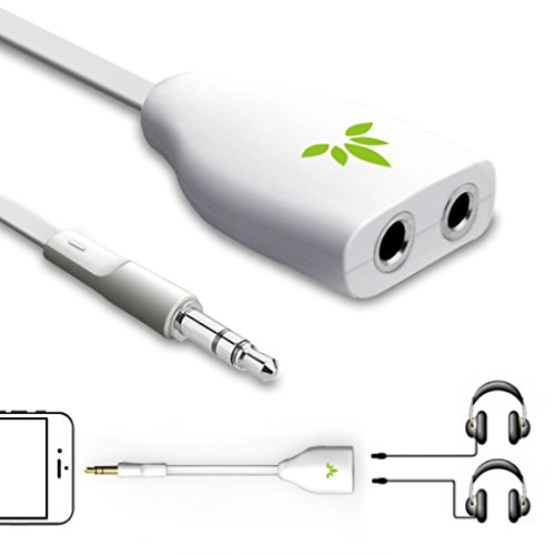 Avantree 2-Wege 3.5mm Kopfhörer Splitter, Aux Y Audio Adapter mit Doppel headphone Stecker, Doppelstecker Headset Verteiler Kabel für iPhone Handys Smartphone Tablet PC MP3 mit 3,5 klinke - TR302 Weiß