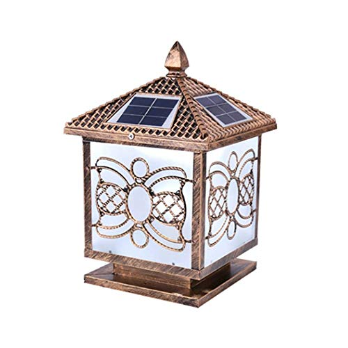 Retro Solar Post Cap Lights Lámcolumna solar LED Lámparas pilar metal hierro Terraza patio exterior Pared superior la calle Luces paisaje jardín a prueba agua Luces mesa exteriores ajustables dos co
