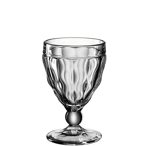 Leonardo Brindisi Weißwein-Glas 1 Stück, spülmaschinenfester Weisswein-Kelch, Wein-Glas mit Facettenschliff, graues Kelchglas, 240 ml, 021601