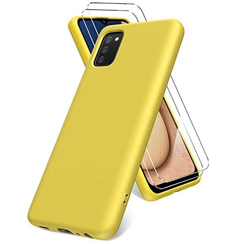 Vansdon Funda Compatible con Samsung Galaxy A02s, 2 Unidades Protector Pantalla Cristal Templado, Silicona Líquida Gel Ultra Suave Funda- Amarillo