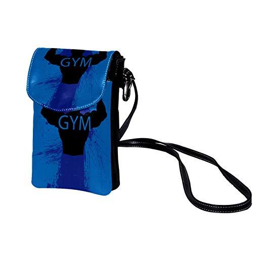Xingruyun Bolso de teléfono móvil para Mujer Gimnasio azul Mini Bolso de teléfono Celular Monedero doble de Cuero con ranura para tarjeta de crédito 19x12x2cm
