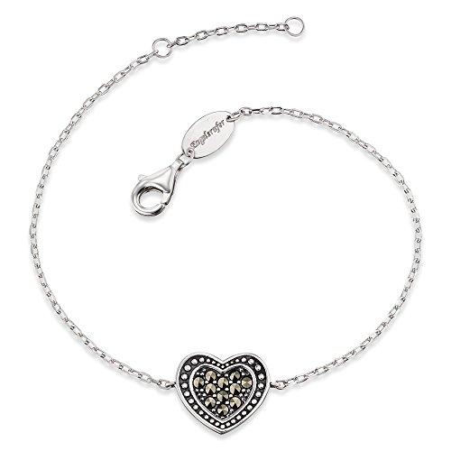 Engelsrufer Herz Armband für Damen Vintage Look 925er-Sterlingsilber Markasit Länge 16 cm + 2 cm